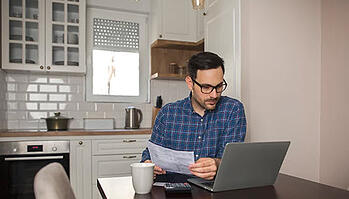 Male employee working from home