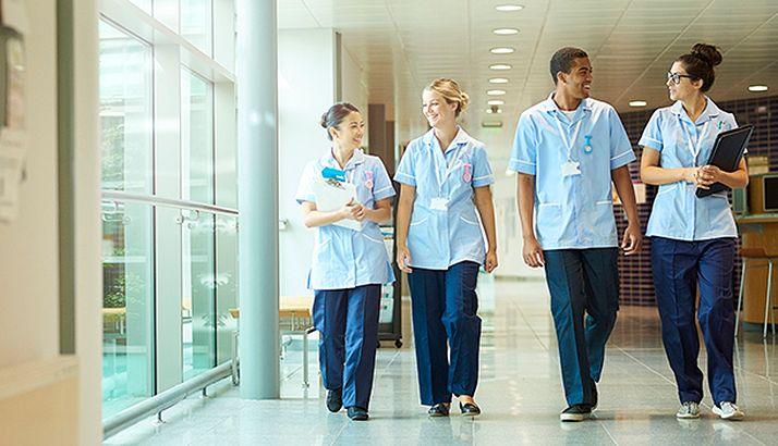 Groupd of doctors walking
